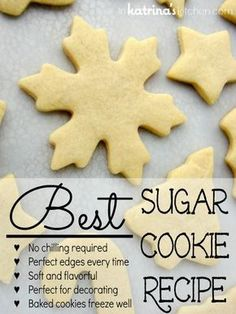 This is the BEST sugar cookie recipe- no chilling the dough, cookies keep their shape when baked, soft and flavorful, perfect for decorating.