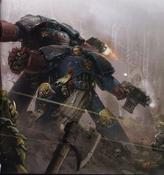 Kortez and his Crimson Fists ! Looks awesome ! Author unknown.