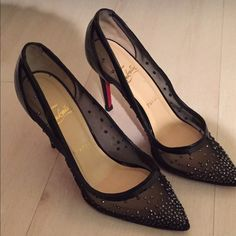 Christian Louboutin sequined shoe (rare/sold out) can only post 4 images here on PM, but can provide more photos if you leave email address. Only deal through poshmark for purchase though. They run small, so this 8.5 would actually fit a 7.5-8. Comes with receipt (paid $1195 at NYC Barneys) dust bag & original shoebox. Have been to shoe repair  once, as wanted to fortify the mesh being that it's a very delicate shoe. Rare shoe and was hard to find (in this size especially), sold out…