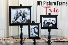Make your own custom pedestal DIY picture frame trio with this easy to follow tutorial. They're inexpensive to make but look like high-end buys!