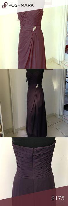 Strapless plum gown Side silver rhinestone embellishment, drape Chiffon style Dresses Strapless