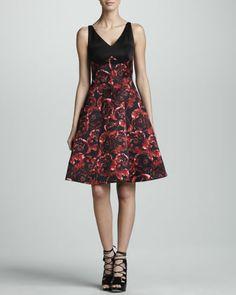 Combo Silk Satin Dress, Black/Ruby by Jason Wu at Neiman Marcus.