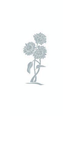 GIRASOLE: disegno per decoro dipinto a mano interno al vetro stratificato