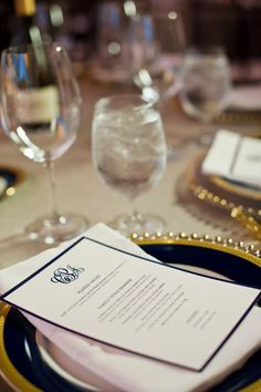 { Ask Cynthia }: Wedding Inspirations | Navy and Gold | Place setting
