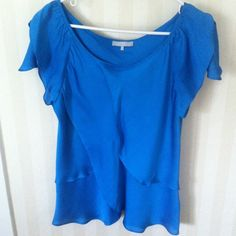 Drapey silk top- Gorgeous color! Beautiful blue short sleeve top. Flowy look and very soft and silky. Tops