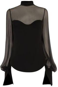 Alexander McQueen Black Sheer Panel Blouse - Lyst