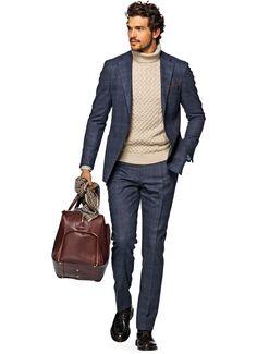 Suit Blue Check Havana P3942 | Suitsupply Online Store