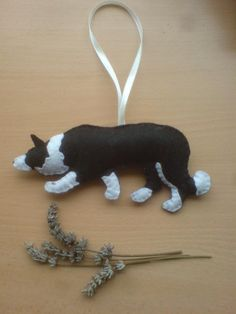 Embroidered felt Border Collie...plush sheepdog, embroidered with your choice of design filled with Soil Association certified organic wool by SheepInStitches on Etsy