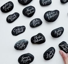 Hand-lettered pebbles for a Positano wedding last weekend, it's been a while since I've created some of these! I'm imagining them as… Wedding Name, Wedding Pins, Wedding Place Cards, Wedding Favours, Wedding Trends, Wedding Designs, Wedding Ideas, Wedding Goals, Wedding Ceremony