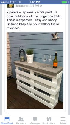 DIY pallet project. Love this idea for a poolside mini bar! Great for parties.