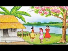 How to draw scenery of children's play /কানামাছি খেলার দৃশ্য step by step Landscape Drawing Tutorial, Landscape Drawings, Cool Landscapes, Oil Pastel Paintings, Oil Pastel Drawings, Colorful Drawings, Oil Pastels, Scenery Drawing For Kids, Art Drawings For Kids