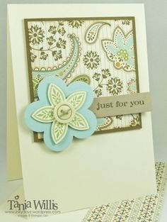 Stampin Up - Triple Treat Flower card. Lovely simple card with design paper feature background. Could also make background from stamped images and designs.