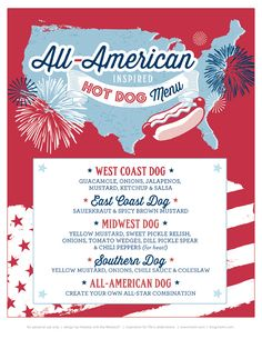 Love this party idea for summer time!! Hot dog bar from around the country! FREE Printables: All American County Fair July 4th Party