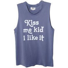 MATE Kiss Me Kid Tank ($50) ❤ liked on Polyvore featuring tank tops