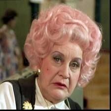 """Mollie"" Sugden funny as hell as Mrs. Slocombe in the British comedy show Are You Being Served -"
