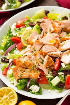 Greek Salmon Salad with Lemon Dill Vinaigrette | Cooking Classy