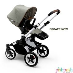 Designed for high performance, no matter where you go! This Limited Edition Bugaboo Buffalo Escape is warm yet rugged, with details like washed cotton canvas in Balsam green with a striped interior, matching tote bag, perforated faux leather on the handle bar and bassinet. Now in stock!  http://www.pishposhbaby.com/bugaboo-buffalo-escape-stroller-limited-edition.html