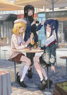 Mari Ohara, Dia Kurosawa, and Kanan Matsuura Anime School Girl, Anime Girl Cute, Beautiful Anime Girl, Anime Art Girl, Anime Love, Girls School, Anime Girls, Anime Best Friends, Friend Anime