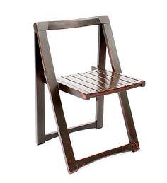 Lackered beech-wooden folding chair Fiera di Trieste design Aldo Jacober 1966 executed by Bazani / Boviso Italy