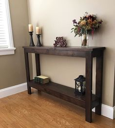 Entry way console built for my return client Nic. Built out of rustic Alder and stained in dark java. #console #anawhite #home #homedecor #decore #table #alder #generalfinishes #woodworking #carpenter #consoletable #rustic