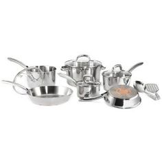 #5: T-fal C798SC64 Ultimate Oven Safe Stainless Steel Copper-Bottom Dishwasher Safe 12-Piece Cookware Set, Silver