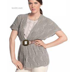 Серый жилет с узором волна стильный и простой. Для гардероба деловой женщины - это находка! Модель выполнена из хлопковой пряжи поэтому отлично...