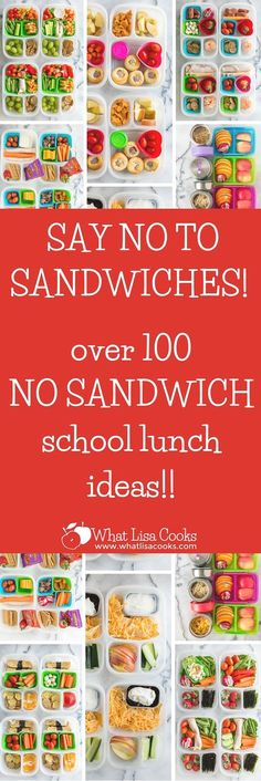 Tired of packing just sandwiches for school lunch? Check this out! Dozens of easy non-sandwich school lunch ideas from WhatLisaCooks.com