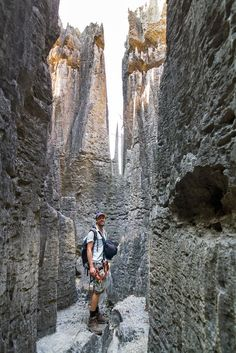 Hiker in Tsingy de Bemaraha National Park, Madagascar