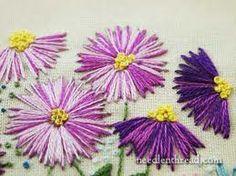 hand embroidery flower stitches - straight stitch