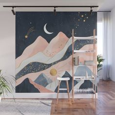 Night And Day Wall Mural by Elisabeth Fredriksson - X Bedroom Murals, Bedroom Wall, Bedroom Decor, Wall Decor, Wall Design, House Design, Mural Wall Art, Interior Decorating, Interior Design