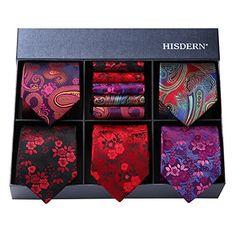 Hisdern Lot 5 PCS Classique elegant formel La soie des hommes Cravate Set  Cravate   Carre 32da56353e4