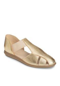 AEROSOLES Gold Leather Believe Casual Flat