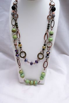 Beaded Chain Necklace: 2 Layered, Chunky, Chocolate Metal Chain, Copper, Long. $32.00, via Etsy.