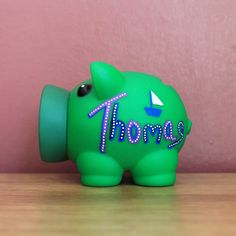 Green Personalised Piggy Bank Bespoke Money Box for Savings / Hand Illustrated Fun Artisan Gift for Her / Kids / Newborn by eBuyGB on Etsy