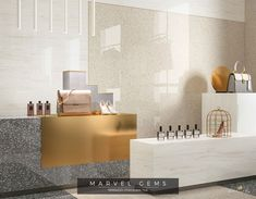Marvel Gems Terrazzo porcelain tiles inspired by Venetian Terrazzo for modern architecture. Visual Merchandising, Marvel Gems, Terrazzo Tile, White Bodies, Concorde, Porcelain Tile, Stores, Modern Architecture, Interior Design