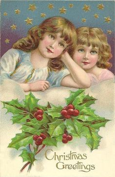 Vintage Christmas Postcard, ca. Retro Christmas Decorations, Vintage Christmas Images, Old Fashioned Christmas, Christmas Past, Victorian Christmas, Vintage Holiday, Christmas Pictures, Christmas Angels, Christmas Greetings