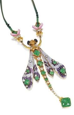 Fédor Anatolevitch Lorie - A rare and important Art Nouveau enamel, gold, emerald and diamond corsage ornament, circa 1900. Designed as a hybrid dragonfly, with helmeted head set with two cabochon sapphires to a winged torso, the lilac plique-à-jour enamel wings highlighted with circular-cut diamonds and cabochon emeralds to a similarly set tapering articulated body, suspended by the arms from a pair of pink enamel and gem-set stag beetles, mounted in 14 carat yellow gold.