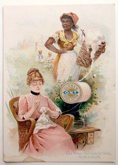 Civil War Era Black Slave Clark's Spool Cotton Sewing Advertising Trade Card