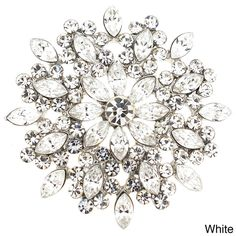 Cubic Zirconia Flower Wedding Pin Brooch - Overstock Shopping - Big Discounts on Brooches & Pins