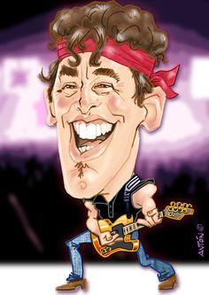 Caricaturas de famosos. Bruce Springsteen Bruce Springsteen, Anton, Joker, Fictional Characters, Celebrity Caricatures, The Joker, Fantasy Characters, Jokers, Comedians