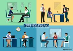 Vector: Office work design concept set with people working hard on their workplaces. Flat icons isolated vector illustration
