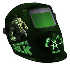 Welding helmets with super hero graphics from The Avengers.   Thor, Iron Man, Captain America, The Incredible Hulk, Black Widow, and Hawkeye