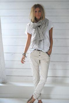 Light khaki pants white tee and white printed scarf for spring