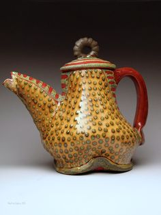 Teapot with layered slips and glazes on red clay / Ronan Peterson Pottery Teapots, Ceramic Teapots, Tile Crafts, Kettles, Tea Ceremony, Ceramic Artists, Pottery Ideas, Clay Ideas, Household Items