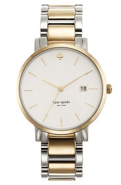 kate spade new york 'gramercy grand' bracelet watch, 38mm. two tone silver and gold.