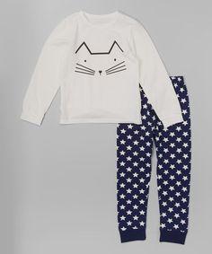 Another great find on #zulily! White Kitty Sweatshirt & Blue Leggings - Infant, Toddler & Girls #zulilyfinds