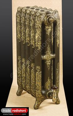 Oxford Cast Iron Radiator finished in Old Penny with Gold highlight Steam Radiators, Old Radiators, Cast Iron Radiators, Victorian Radiators, Radiator Cover, Gold Highlights, Gothic House, Heating Systems, Grand Wizard