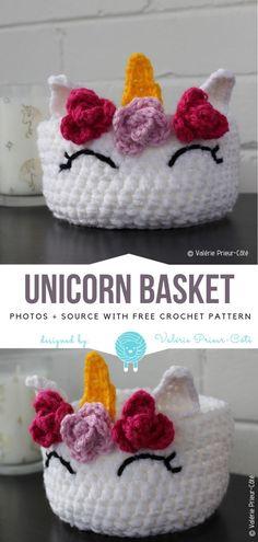 Unicorn BasketFree Crochet Pattern  #crochetbasket