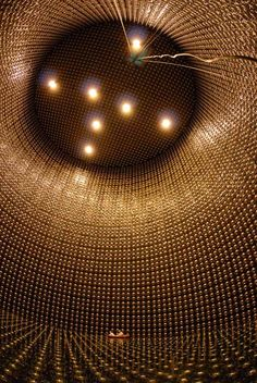 super kamiokande detector, kamioka observatory, japan: ~12′000 photomultiplier tubes (extremely sensitive light detectors), in an 'ultra-purified water-filled' tank, detect neutrinos, proton decay and cosmic rays.