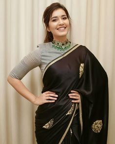 Bollywood,Tollywood news,events, actress gallery,photos Silk Saree Blouse Designs, Fancy Blouse Designs, Black Saree Blouse, Grey Blouse, Indian Designer Outfits, Indian Outfits, Style Indien, Sarees For Girls, Stylish Blouse Design